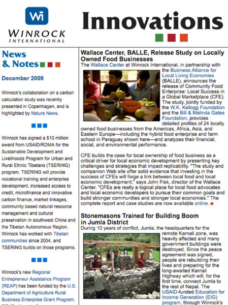 Winrock International December 2009 Innovations Newsletter