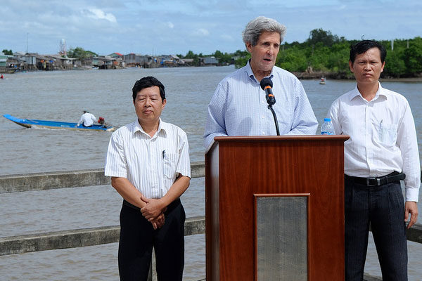 John Kerry speaking near Mekong Delta
