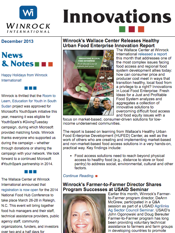 Winrock International December 2013 Innovations Newsletter