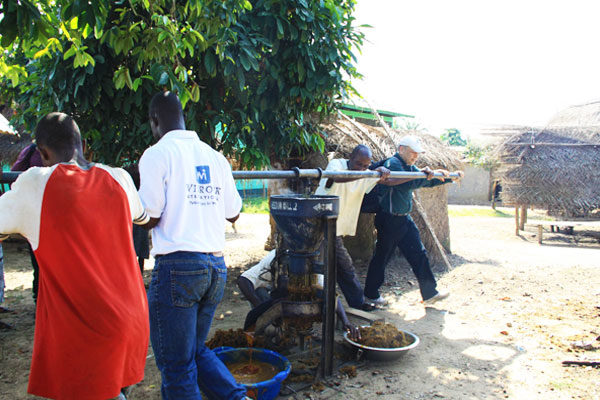 Men extracting palm oil