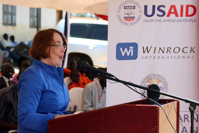 U.S. Ambassador Molly Phee speaks about the importance of literacy and education in South Sudan.