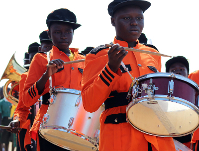 Bands played lively music during the International Literacy Day event in Juba on September 22.