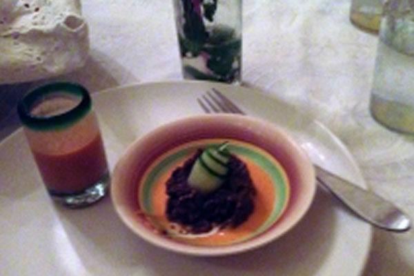 Cuban dish on restaurant table