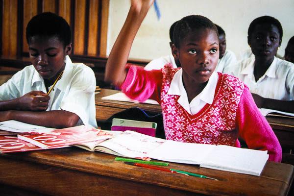 Ivorian school girls in class