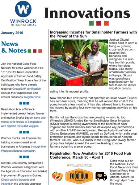 Winrock International January 2016 2016 Newsletter