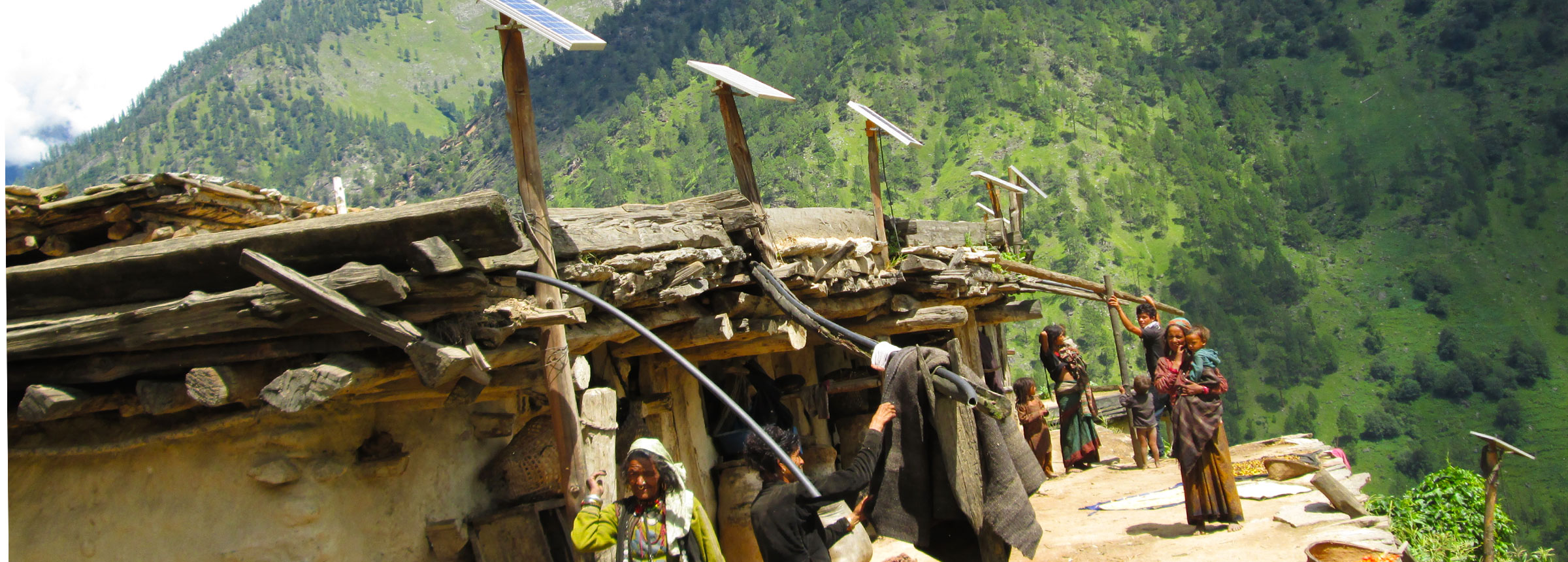 Solar panes atop roofs in Nepali village