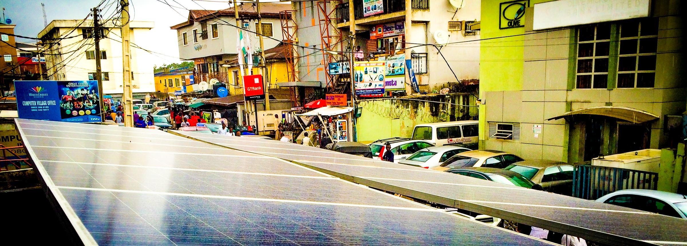 Solar panels in Nigerian city