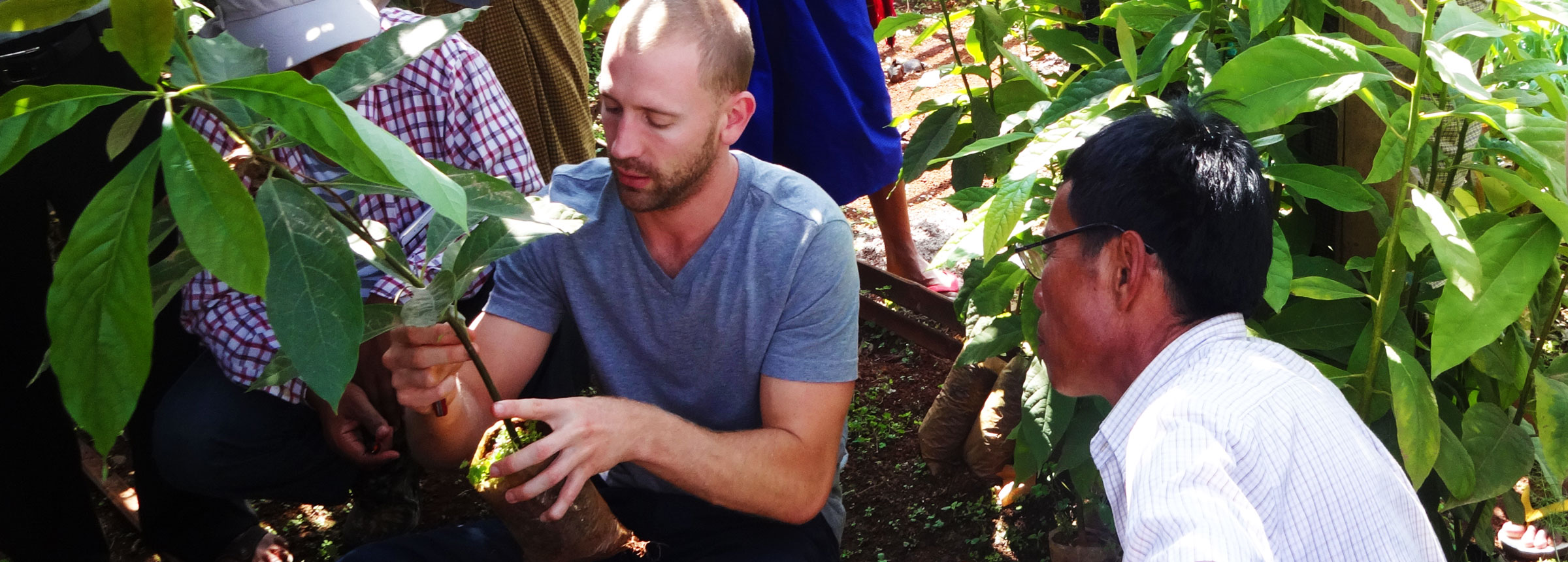Volunteer demonstrating planting technique to farmer