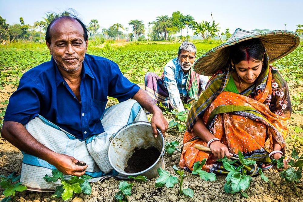 farmers using fertilizer