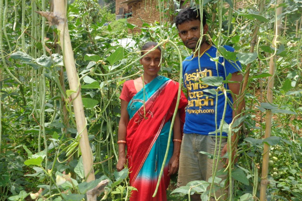 Shanta's husband, Jhagilal, was able to return from being a migrant laborer due to her increased income from selling vegetables.