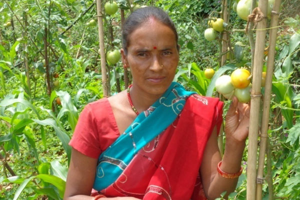 Following KISAN agricultural training, Shanta increased her income in just one season from selling vegetables.