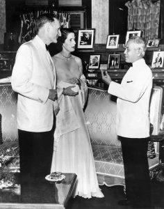 February 12, 1957 - Bangkok, Thailand - John D. Rockefeller 3rd and Blanchette Hooker Rockefeller with Field Marshall Pibulsonggram, Prime Minister of Thailand, at his residence.