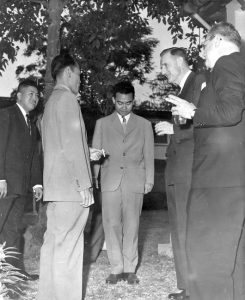 1959 - Laos - John D. Rockefeller 3rd (right) and Sisouk na Champassak (center.)