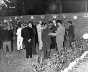 1959 - Laos - John D. Rockefeller 3rd (right) and Sisouk na Champassak (center.)