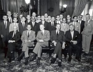 ADC Trustees, staff, and a group of A/D/C Fellows at the International Conference of Agricultural Economists, Cuernavaca, Mexico, August 1961. John D. Rockefeller 3rd is sitting, center.