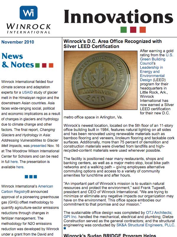 Winrock International November 2010 Innovations Newsletter