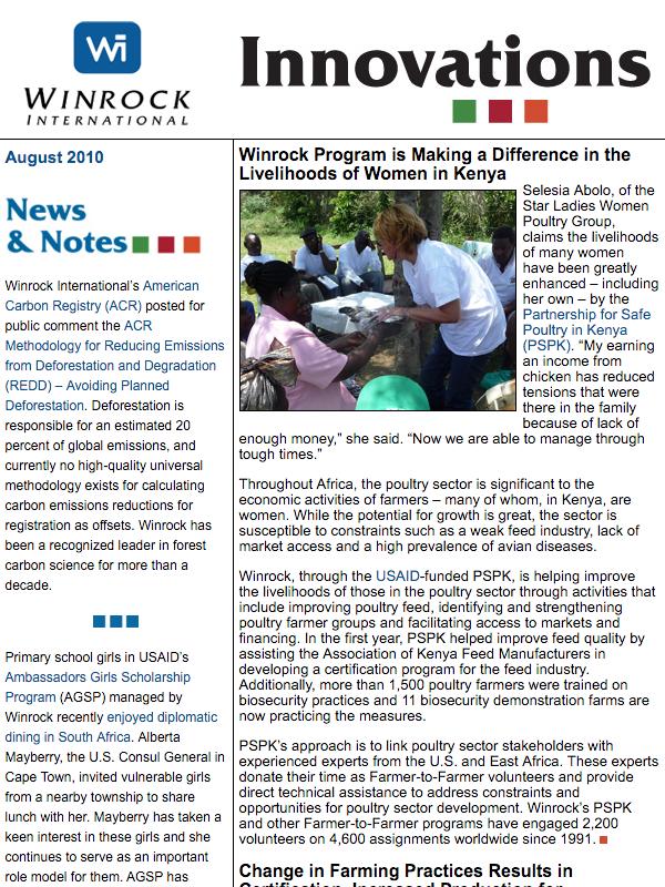 Winrock International August 2010 Innovations Newsletter
