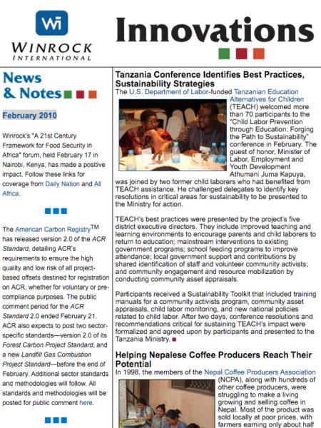 Winrock International February 2010 Innovations Newsletter