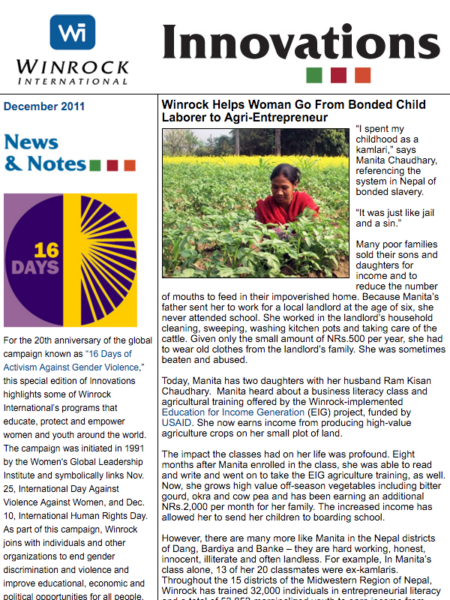 Winrock International December 2011 Innovations Newsletter