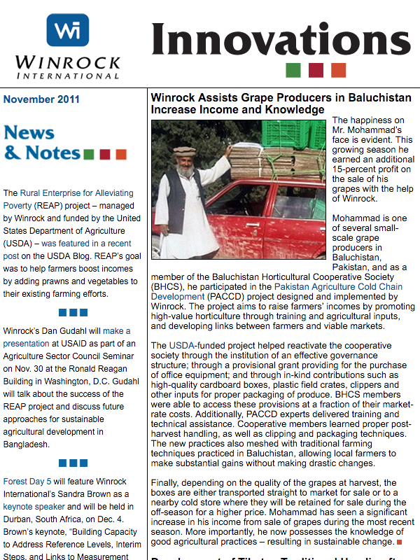 Winrock International November 2011 Innovations Newsletter