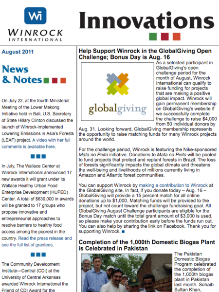 Winrock International August 2011 Innovations Newsletter