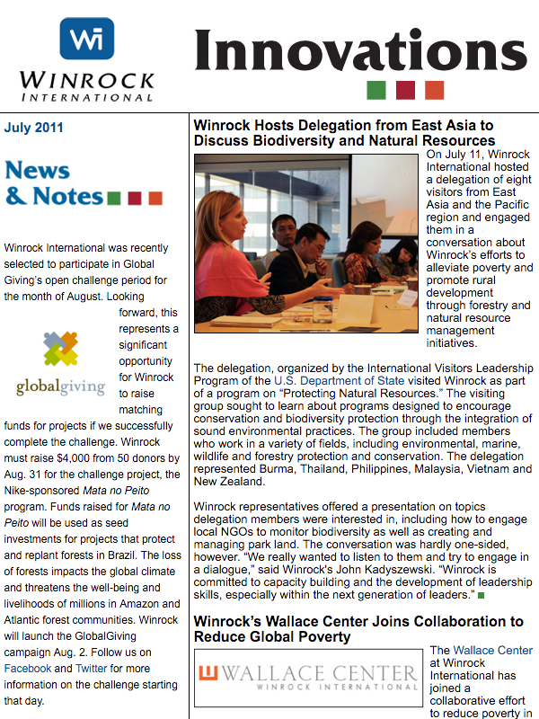 Winrock International July 2011 Innovations Newsletter