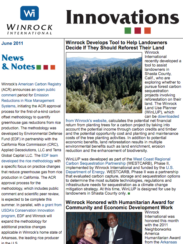 Winrock International June 2011 Innovations Newsletter