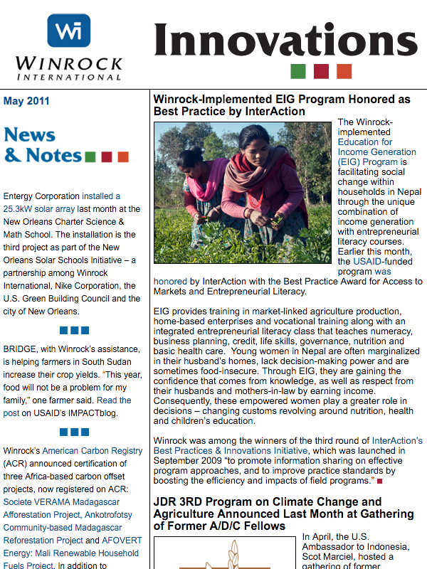 Winrock International May 2011 Innovations Newsletter