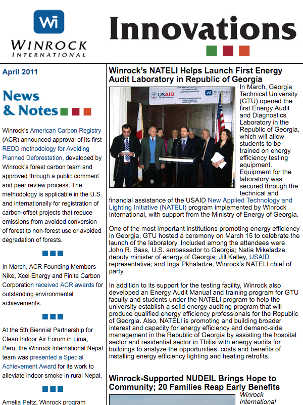 Winrock International April 2011 Innovations Newsletter