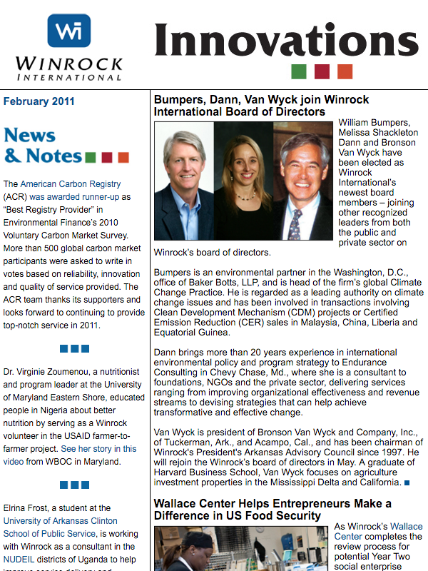 Winrock International February 2011 Innovations Newsletter