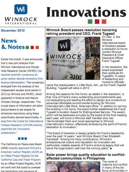 Winrock International December 2012 Innovations Newsletter
