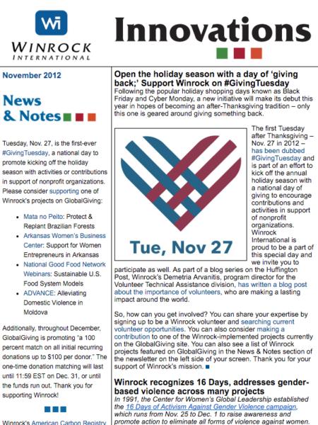 Winrock International November 2012 Innovations Newsletter