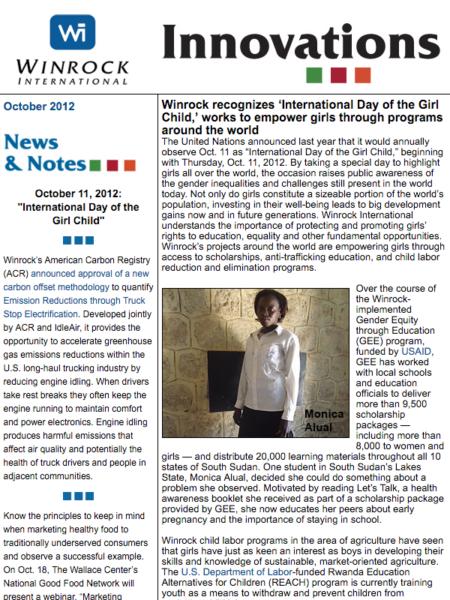 Winrock International October 2012 Innovations Newsletter