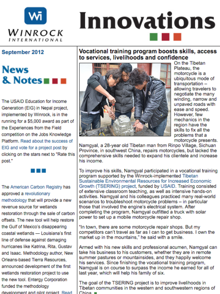 Winrock International September 2012 Innovations Newsletter