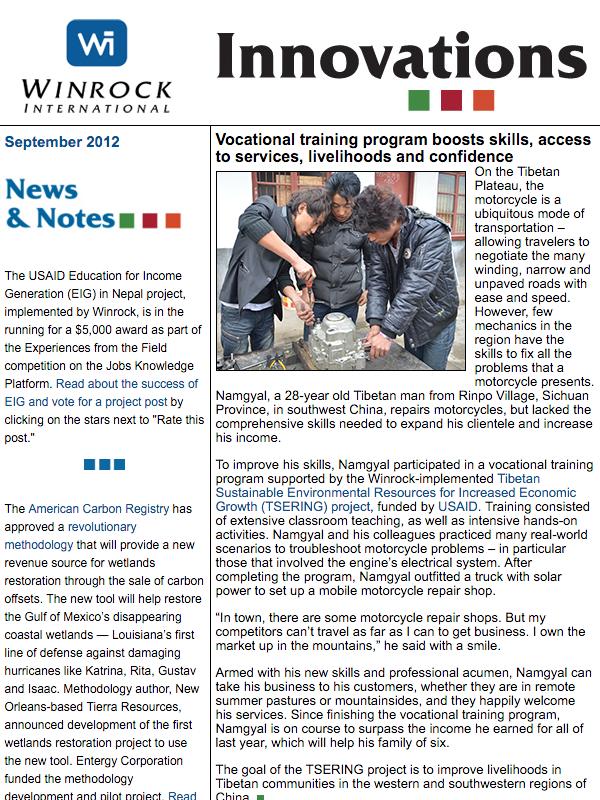 Winrock International September 2012 Innovations Newsletter