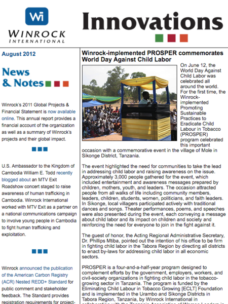 Winrock International August 2012 Innovations Newsletter