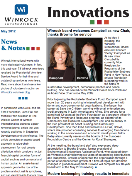 Winrock International May 2012 Innovations Newsletter