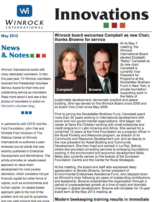 Winrock International May 2012 Innovations Newsletter