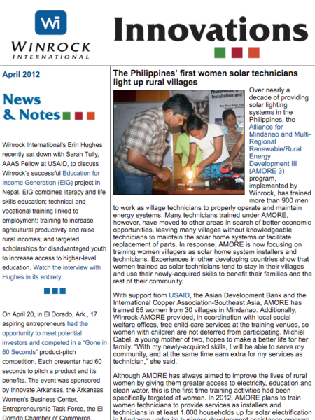 Winrock International April 2012 Innovations Newsletter