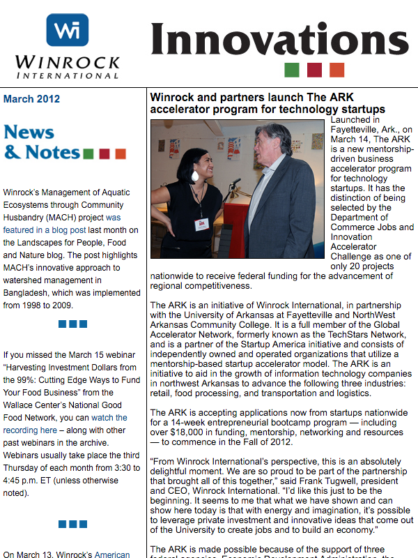 Winrock International March 2012 Innovations Newsletter