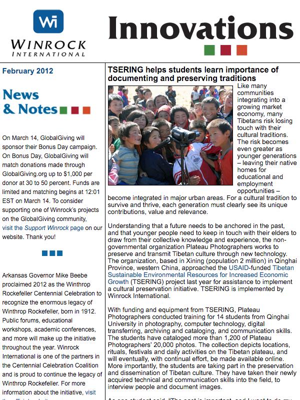 Winrock International February 2012 Innovations Newsletter