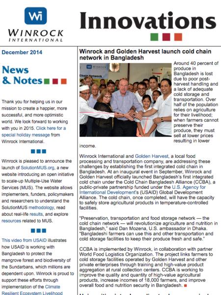 Winrock International December 2014 Innovations Newsletter