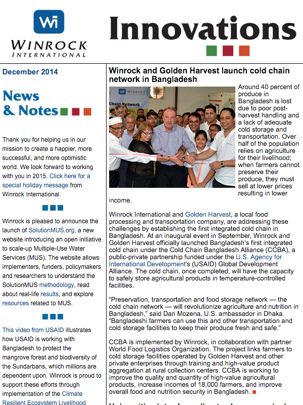 Winrock International December 2014 Innovations Newsletter
