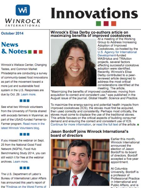 Winrock International October 2014 Innovations Newsletter