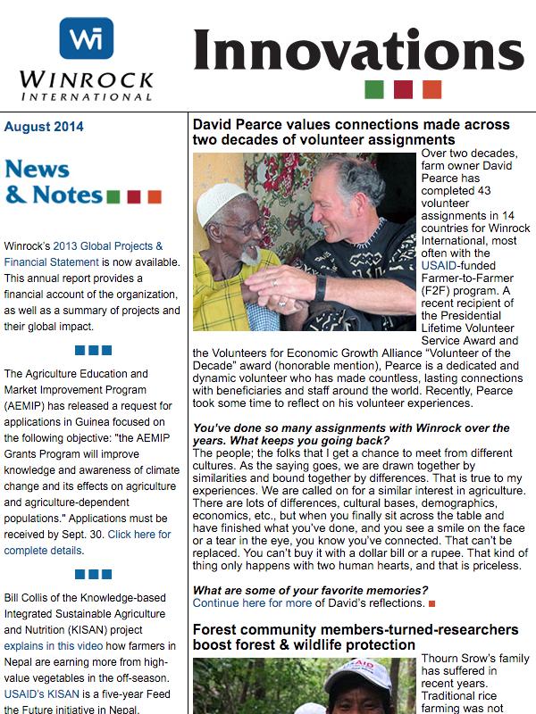 Winrock International August 2014 Innovations Newsletter