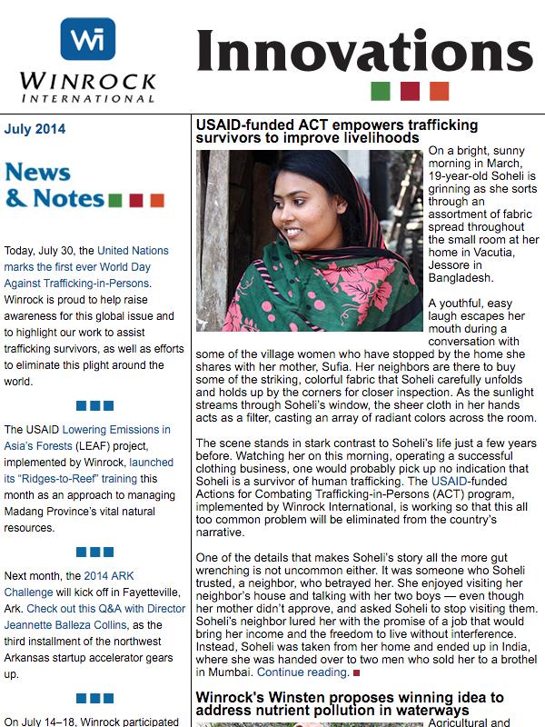 Winrock International July 2014 Innovations Newsletter