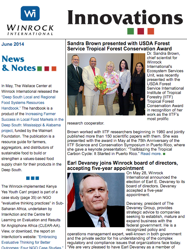 Winrock International June 2014 Innovations Newsletter