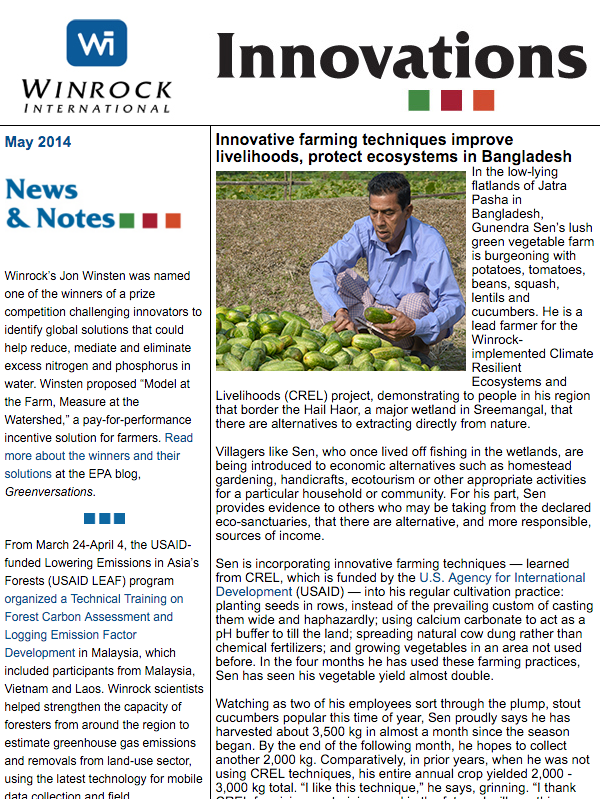 Winrock International May 2014 Innovations Newsletter