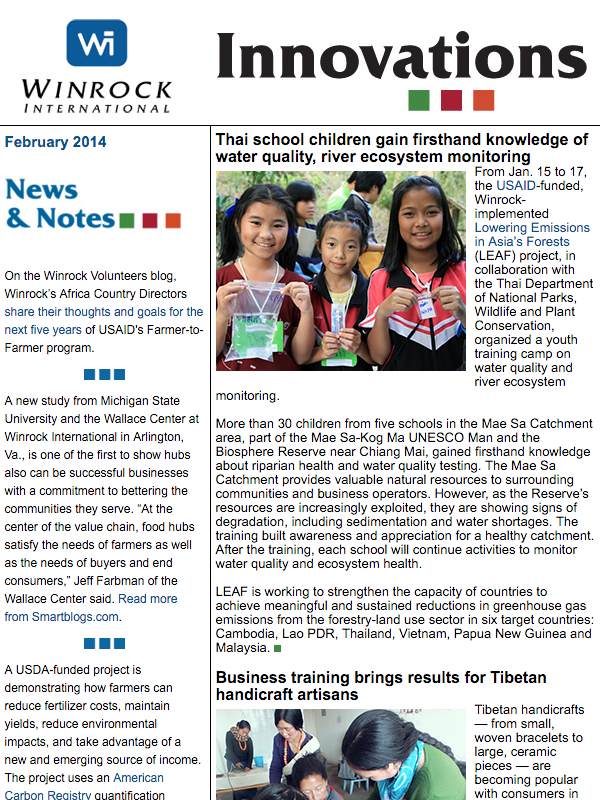 Winrock International February 2014 Innovations Newsletter