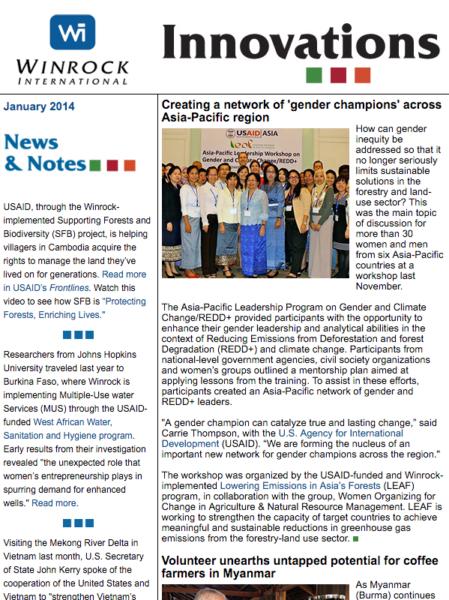 Winrock International January 2014 Innovations Newsletter